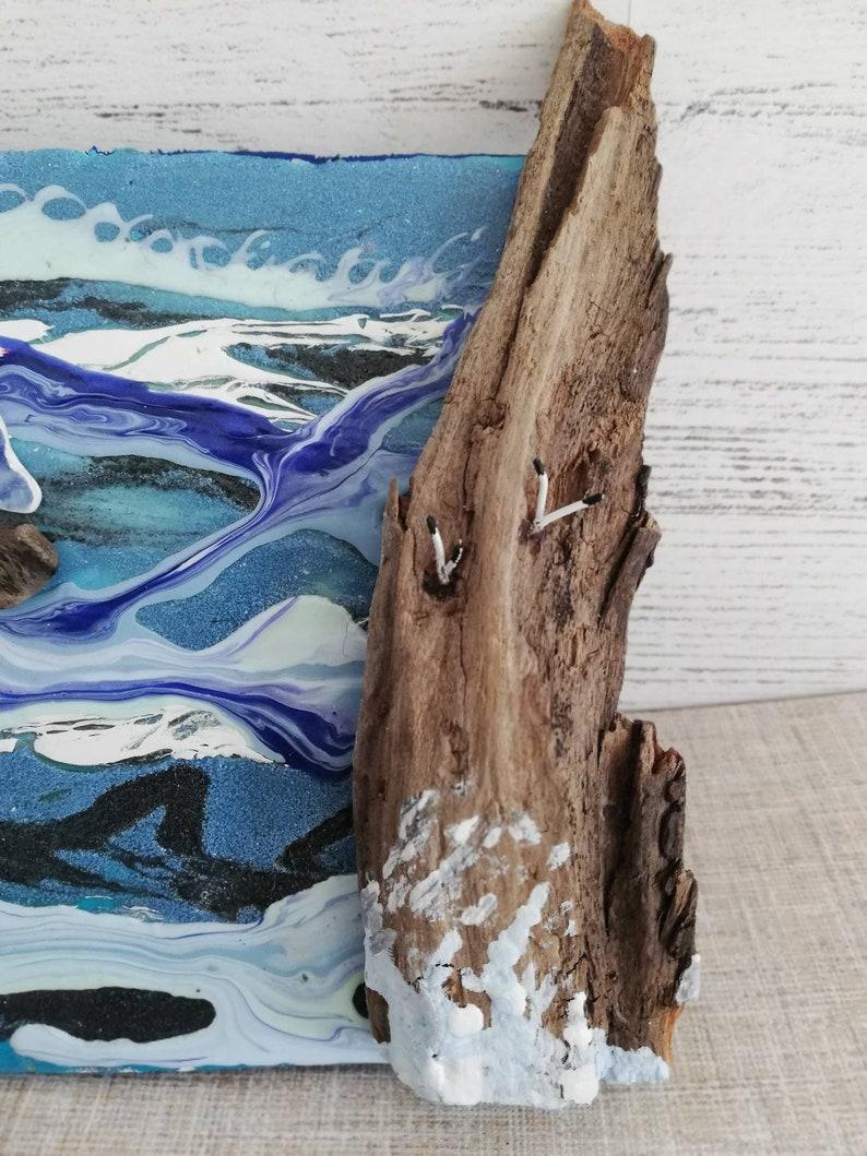 driftwood art handmade driftwood scene driftwood driftwood house driftwood wall art driftwood cottage little wooden house