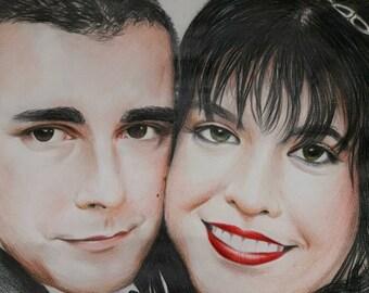 Couple portrait / 2 or 3 people/ portraits/ handmade/ pencils/ chaocal/ paper