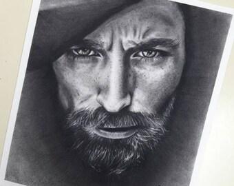 Portraits/ one person/ presents/ handmade/ pencils / draw/ illustration / charcoal