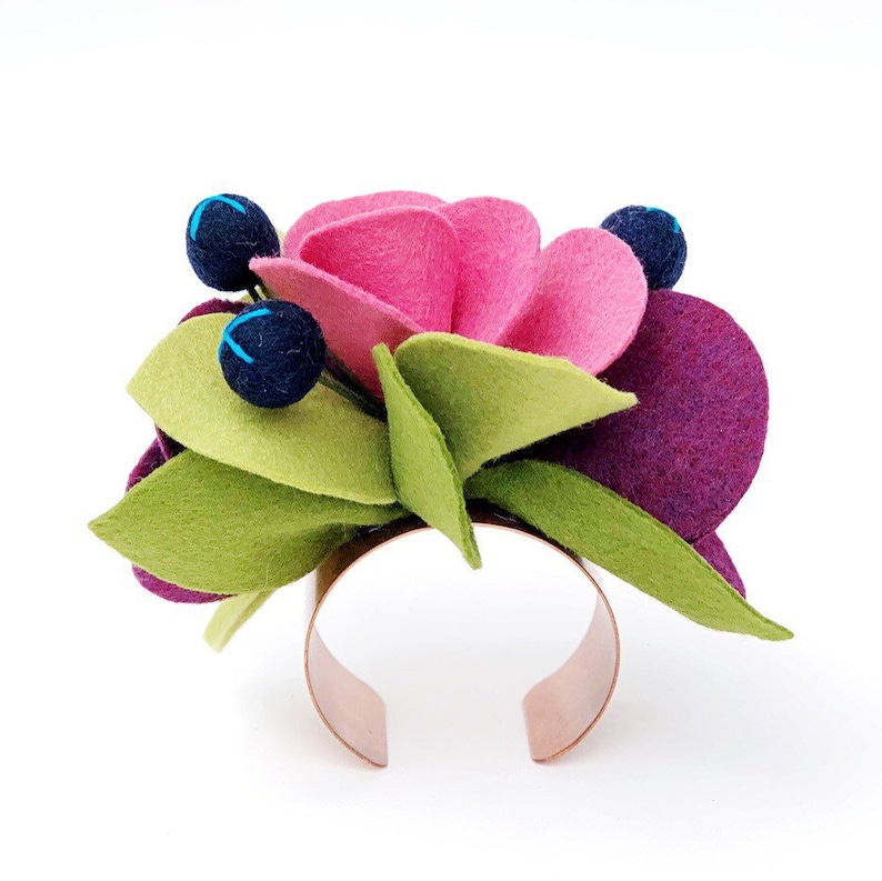 Felt Flowers Wrist Corsage Wrist Corsage Pink and Purple Floral Happy Day Accessory .