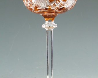 VAL St LAMBERT Crystal - Berncastel Cut - Coloured Hock Glass - Burnt Orange