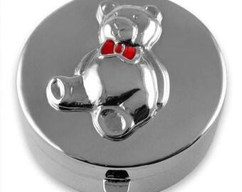 Hallmarked Sterling Silver - Enamel Teddy Bear TOOTH FAIRY BOX