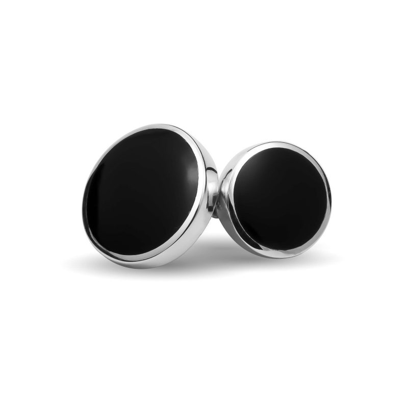 Sterling Silver ONYX Double Sided Cufflinks Boxed