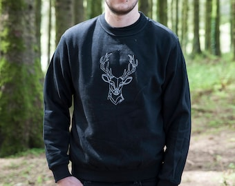 Black Stag Embroidered Sweater