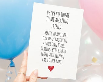 Birthday Card for Him DIGITAL DOWNLOAD, Printable Birthday Card for Best Friend, Funny Card for Her,Instant Download Humorous Hilarious Card