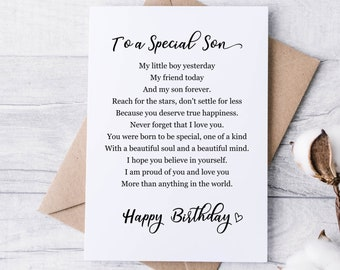 Son Birthday Card DIGITAL DOWNLOAD, To a Special Son