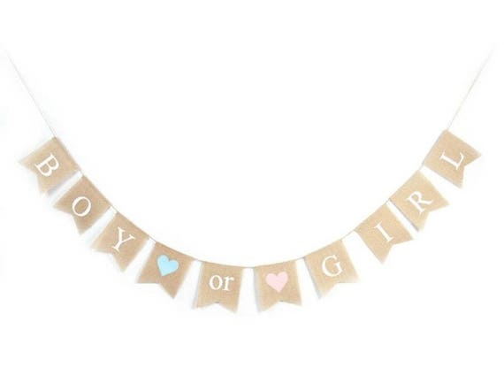 Gender Reveal Party Vintage Hessian Burlap Baby Shower New Baby Bunting Banner