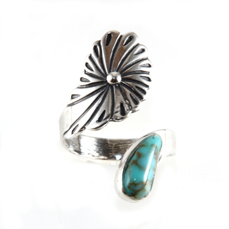 Sterling Silver Southwest Style Turquoise Tear Drop Flower Ring