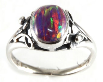 Sterling Silver Delicate Flower and Vine Oval Raspberry Ice Opalite Ring