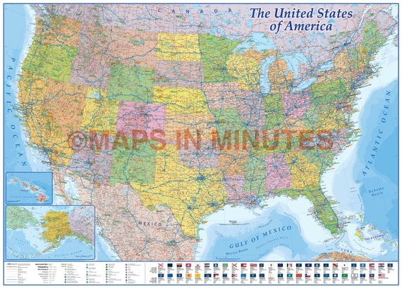 Detailed USA Map 2019, Large USA Road Map, USA Road Map, usa Political Map  + State Flags 140x100cm