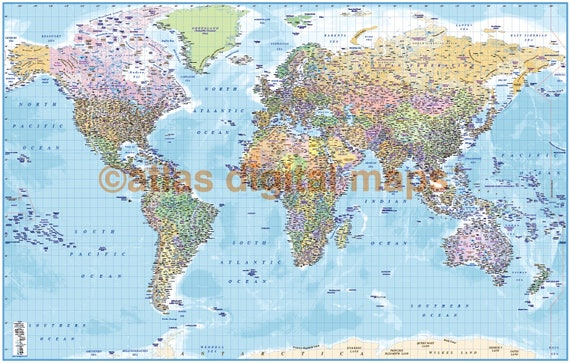 Political map of the world map print political world map with etsy image 0 gumiabroncs Gallery