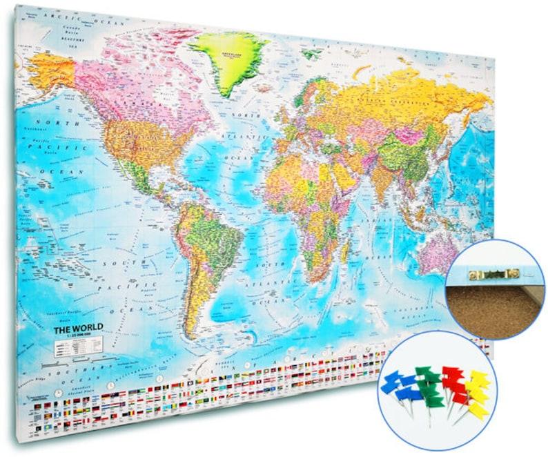 Push Pin World Map 2018, World Pushpin Map, World Pinboard Map, Political &  Physical, Canvas World Map, Cork Push pin World Map (120x80cm)