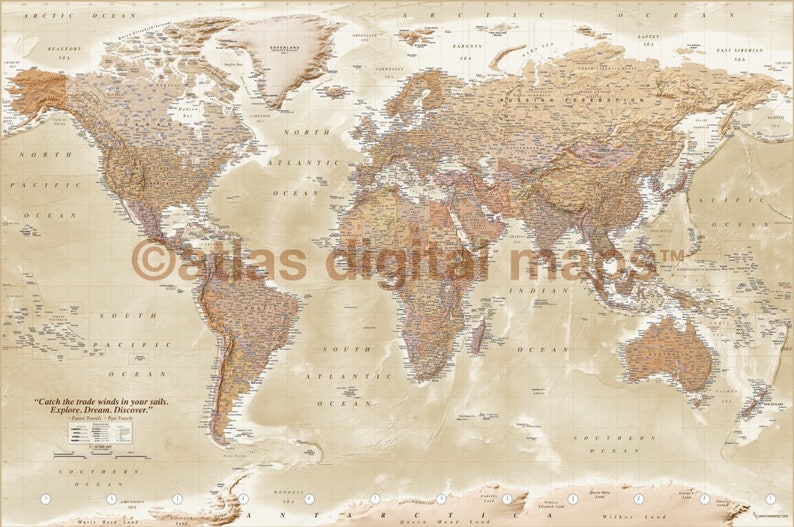 Push Pin Map Personalized Push Pin World Map, Push Pin Travel Map, Pushpin  World Map Canvas Sand DETAILED Physical/Political (PP/S 90x60cm