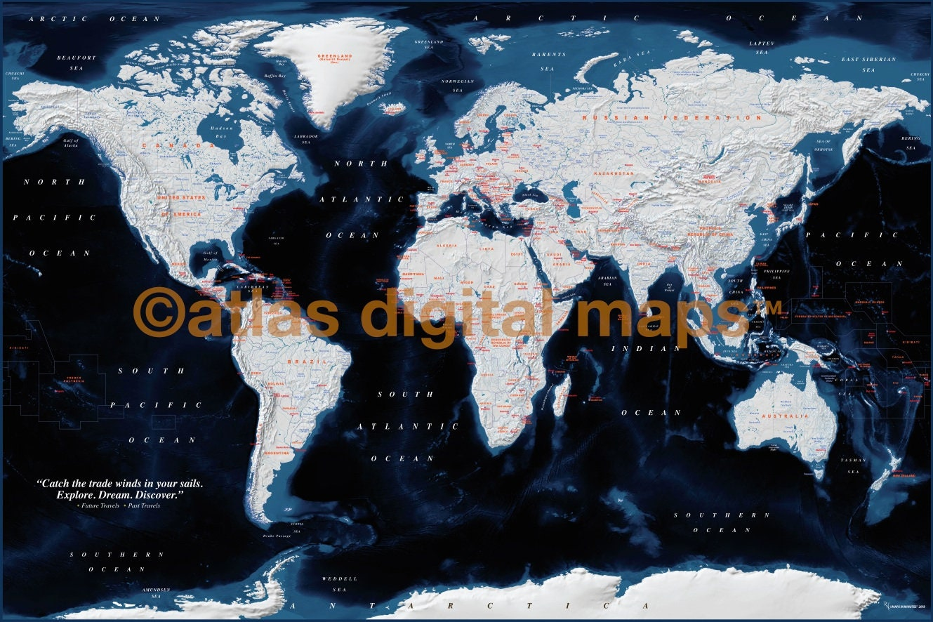 Push Pin World Map Navy, Navy Push Pin Travel Map DETAILED Canvas -  Physical and Political (PushPin/Std 90x60cm)