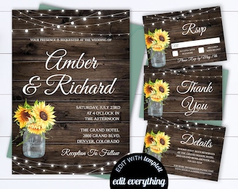 e6c3d18ed1a3 Sunflower Wedding Invitation Template Country Wedding Template Instant  Download Printable Invitation Rustic Invitation Wedding Template