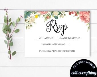 printable rsvp card etsy