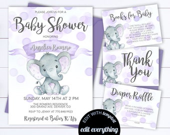 Purple Elephant Baby Shower Invitation Etsy