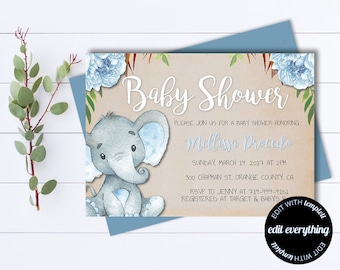 Baby shower invitation template etsy kraft baby shower invitation template boy baby shower invite baby elephant baby shower template floral baby boy shower invitation filmwisefo