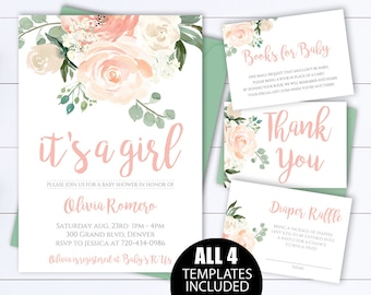 Floral baby shower etsy floral baby shower invitation template floral watercolor baby shower invite girl baby shower flower invitation pink its a girl baby shower filmwisefo