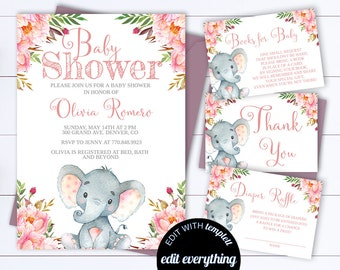 Pink Baby Girl Shower Invitation Template Girl Baby Shower Etsy