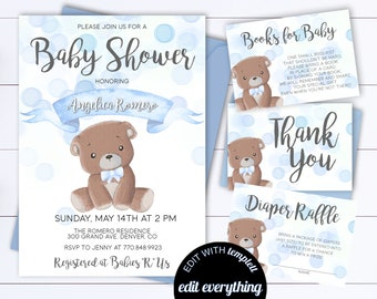 Teddy bear baby shower invitations etsy blue bear baby shower invitation bear baby shower invite woodland baby shower invitation teddy bear baby shower teddy bear invitation filmwisefo