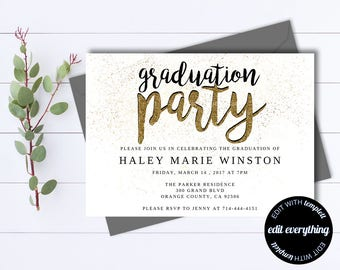 gold senior graduation party invitation template senior graduation template senior graduation invite senior graduation announcement