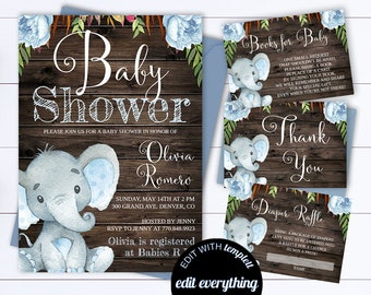 Rustic Baby Shower Invitation Template Boy Baby Shower Invite Etsy