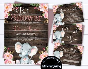 floral baby shower invitation template floral watercolor baby etsy