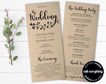 Tea Length Rustic Wedding Program Template