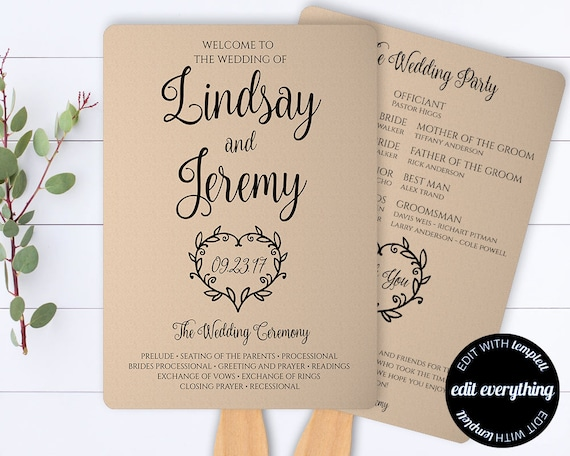 Vintage Heart Printable Wedding Program Template Kraft Paper