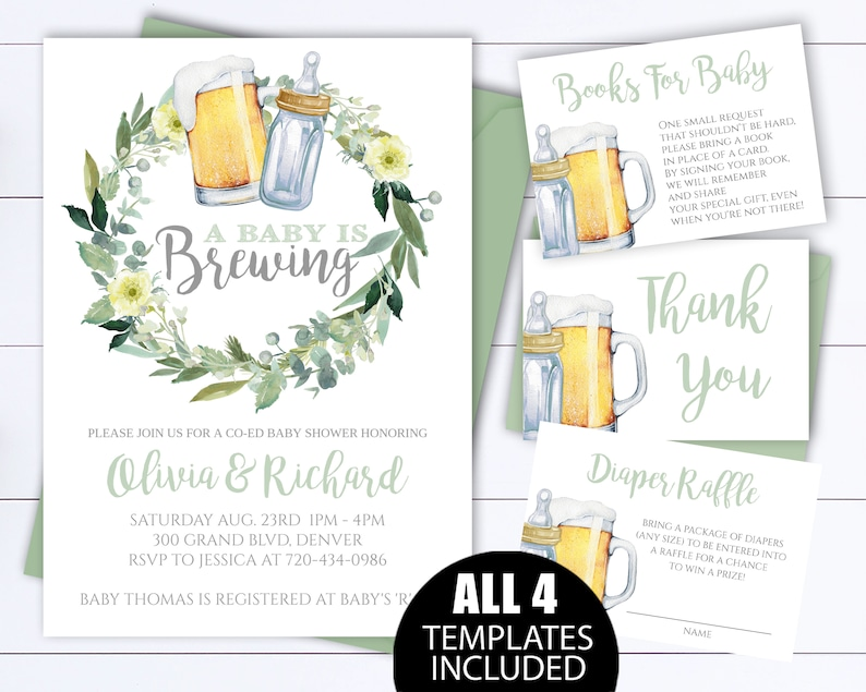 Gender Neutral A Baby Is Brewing Baby Shower Invitation Template Beer Baby Shower Invite Gender Neutral Coed Baby Shower Invitation
