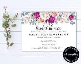 Bridal Shower Invitation - Floral Bridal Shower Invite - Printable Invite Wedding Shower - Printable Bridal Invitation - Floral Invitation