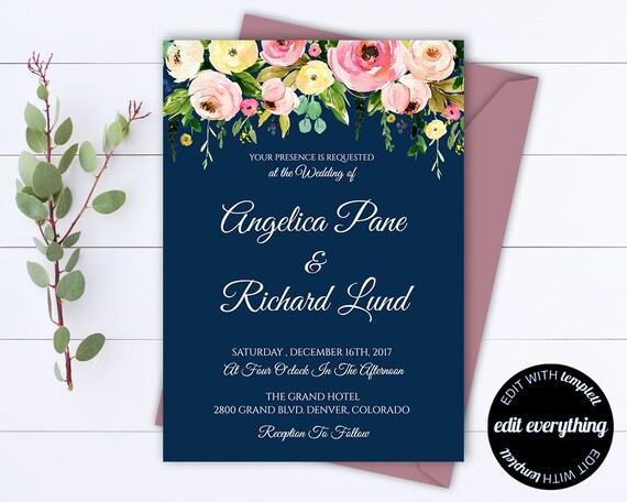 Blue Floral Wedding Invitation Printable Wedding Invitations Etsy
