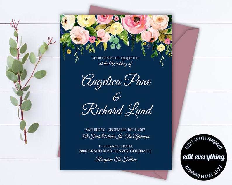 image about Etsy Wedding Invitations Printable titled Blue Floral Wedding day Invitation Printable Wedding ceremony Invites Printable Invitation Suite Floral Invitation Fixed Floral Invitation Template