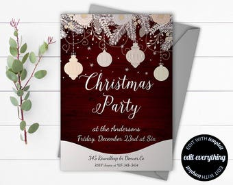 Vintage Christmas Party invitation template - Holiday party invite - Instant Download Printable Invitation - Rustic Holiday Invitation