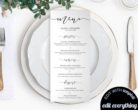 DIY Wedding Menu Template Printable Wedding Menu Cards Menu | Etsy