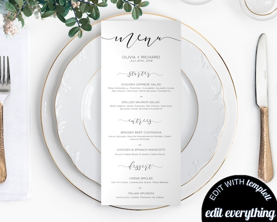 DIY Wedding Menu Template Printable Cards Card Dinner Download