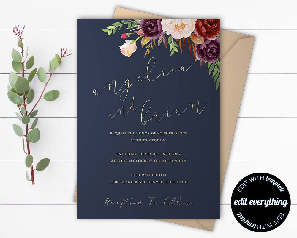 Navy Blue Wedding Invitations: Navy Blue Floral Wedding Invitation Template Blue Wedding
