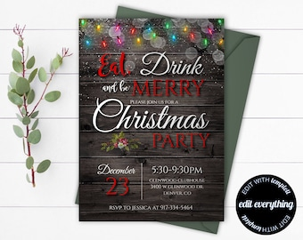 Rustic Christmas Party invitation template - Printable Christmas Invitation Holiday Party - Christmas Party Invitation - Christmas Lights