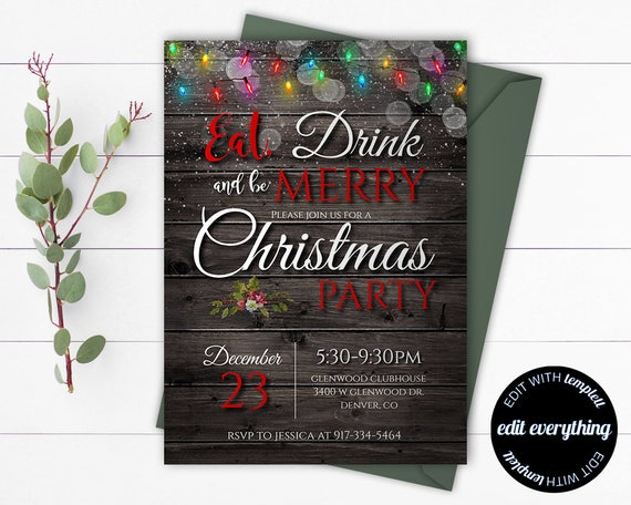 Rustic Christmas Party Invitation Template Printable Etsy
