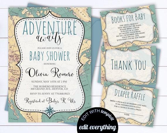 Adventure Awaits Baby Shower Invitation Template Travel Baby Etsy