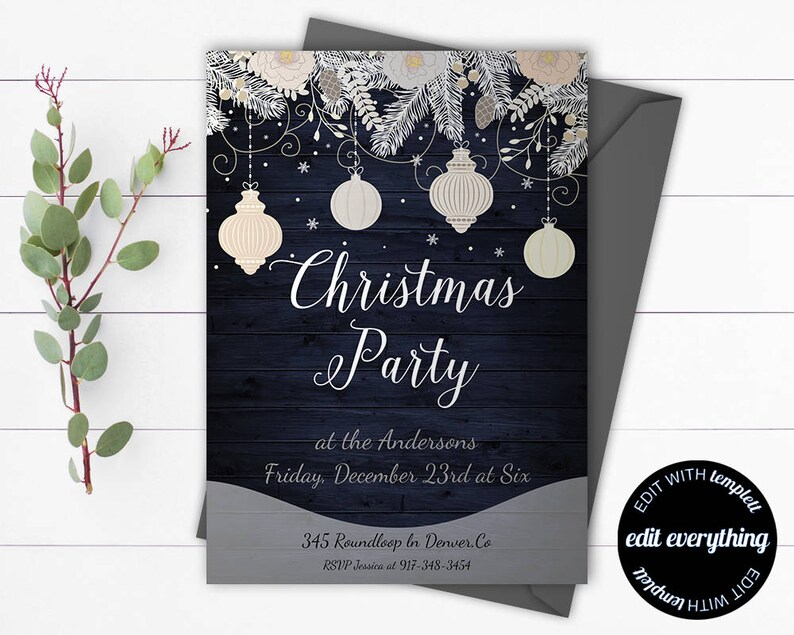 Vintage Christmas Party Invitation Template Holiday Invite Instant Download Printable Rustic