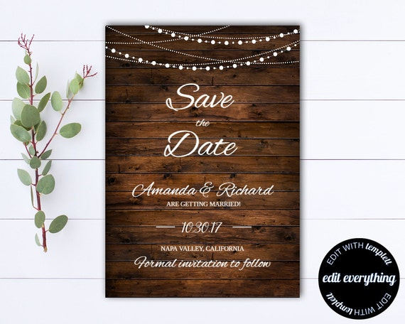 Country Save The Date Wedding Template Diy Save The Date Card Southern Save The Date Invite Printable Save Date Save Our Date