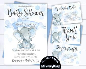 Blue Elephant Baby Shower Boy Invite Blue Baby Shower  Baby Boy Shower Invitations Blue Elephant Boy Baby Shower Blue Elephant Invite