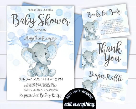 Blue Elephant Baby Shower Boy Invite Blue Baby Shower Baby Etsy