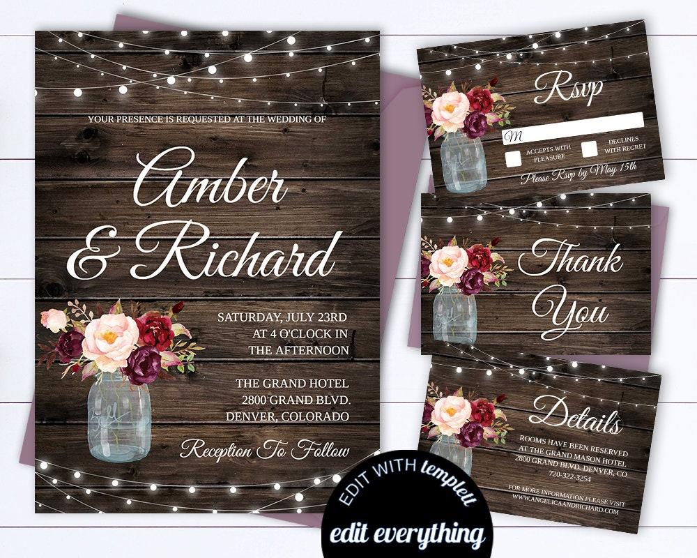 50: Country Wedding Invitation Templates Printable At Reisefeber.org