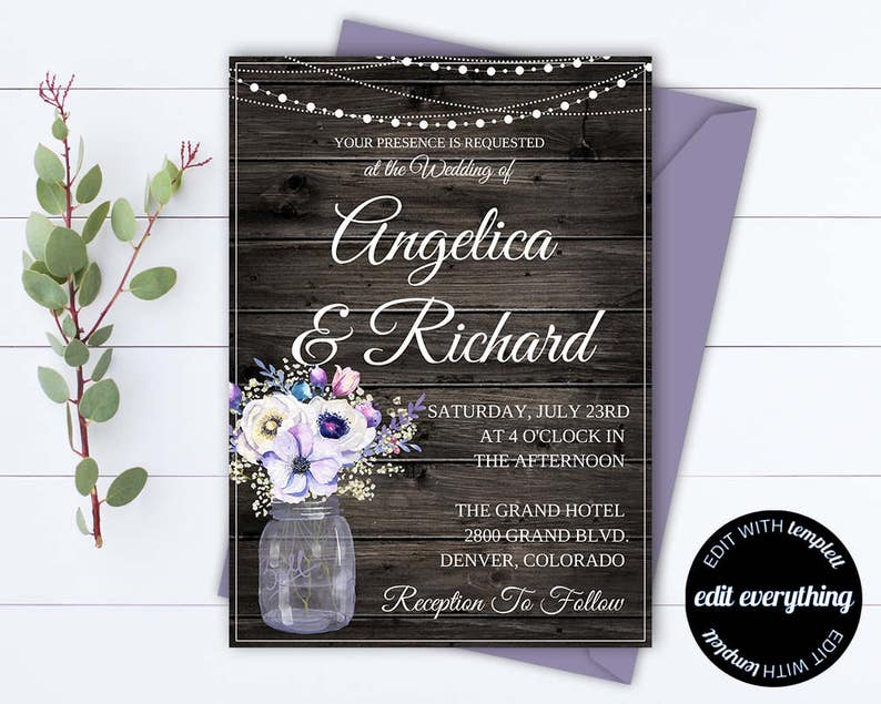 605bbf6d4755a Rustic Wedding Invitation Template - Country Wedding Template - String  Lights Printable Invitation - Rustic Invitation Wedding Template