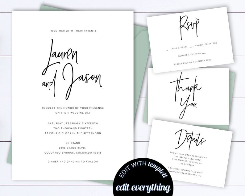 Modern Wedding Invitation Template Invitations Set Simple Printable Black And White