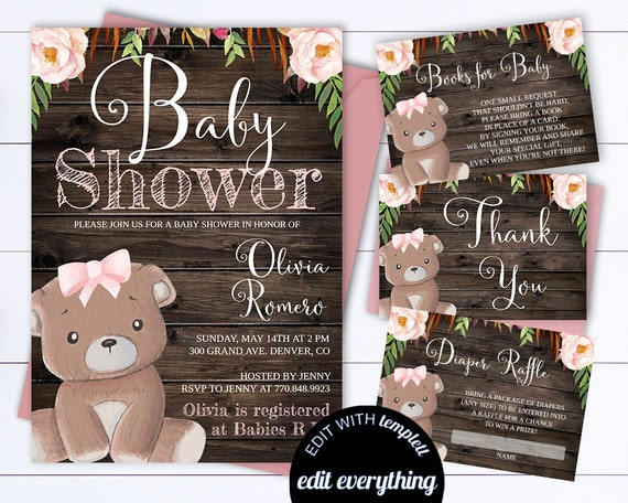 Bear rustic baby shower invitation bear baby shower invite etsy image 0 filmwisefo