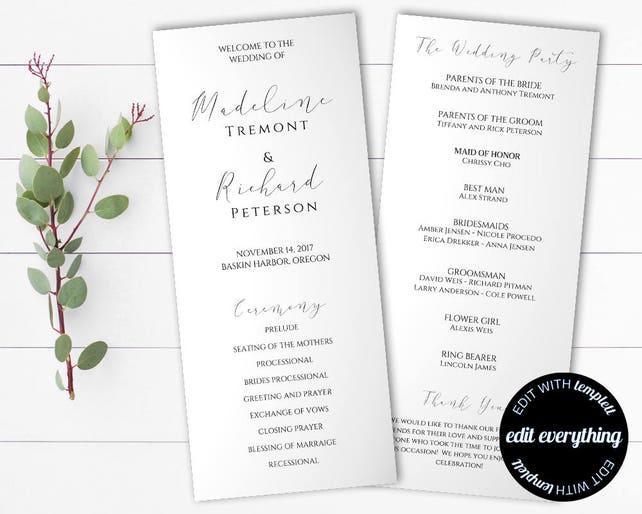Tea Length Wedding Program Template - Diy Wedding program - Order of Service Wedding Ceremony Program - Tea Length Order of Ceremony Program